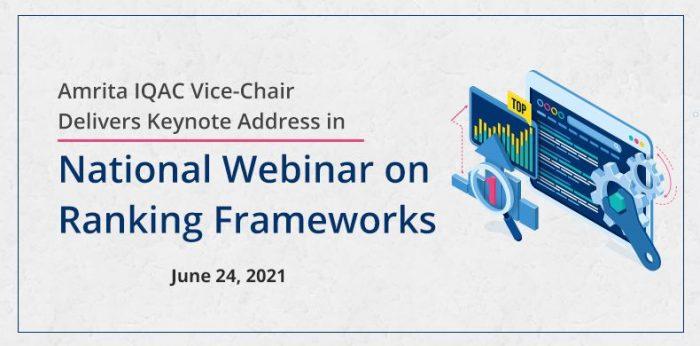 Amrita IQAC Vice-Chair Delivers Keynote Address in National Webinar on Ranking Frameworks